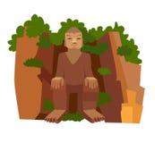 Chinese stone Buddha vector icon Royalty Free Stock Image