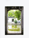 Chinese stone door with green nature view isolated Royalty Free Stock Photography