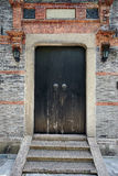Chinese stone door of old house Stock Photos
