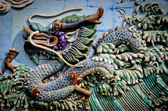 Chinese stone dragon relief Royalty Free Stock Photography