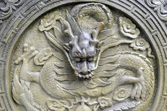 Chinese stone dragon statue Royalty Free Stock Images