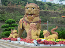Chinese stone lion in park Royalty Free Stock Photo