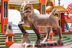 Chinese Stone Lion Sculpture Stock Photo