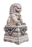 Chinese Stone Lion sculpture on white Royalty Free Stock Image