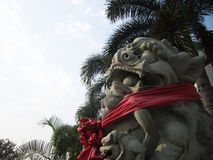 Chinese stone lion statue Stock Images