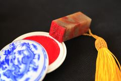 Chinese stone seal. ,China`s traditional arts and crafts stock photos