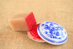 Chinese stone seal. ,China`s traditional arts and crafts stock image
