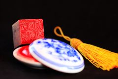 Chinese stone seal. S, seal cutting works royalty free stock photos
