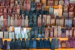 Chinese Stone Seals Hand Stamps Souvenirs in the market near the site of the Great Wall of China Mutianyu stock photography