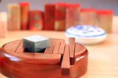 Chinese stone seal. S, seal cutting works stock photography