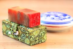 Chinese stone seal. S, seal cutting works royalty free stock photography