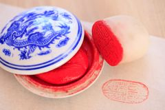 Chinese stone seal. S, seal cutting works royalty free stock photo