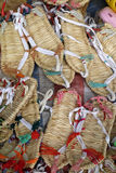 Chinese straw sandals. Chinese traditional straw sandals in the market Stock Images