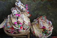 Chinese straw sandals. Chinese traditional straw sandals in the market Stock Photo