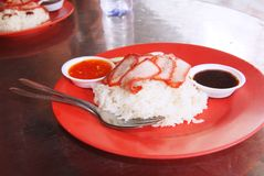 Chinese street food, Char siew rice Royalty Free Stock Images