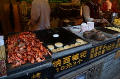 Chinese street food stands Royalty Free Stock Photos