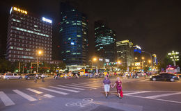 Chinese street intersection at night Stock Photos