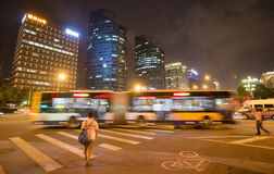 Chinese street intersection at night Royalty Free Stock Photos