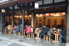 Chinese Street restaurants Stock Photography