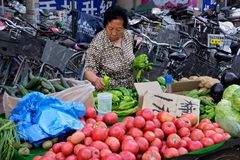 Chinese street seller Royalty Free Stock Photo