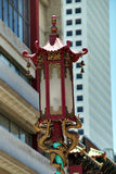 Chinese streetlamp. Streetlamp or streetlight with traditional Chinese shapes and symbols Royalty Free Stock Photos