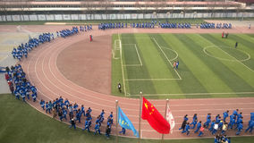 Chinese students doing morning exercise. Tianjin university high school students are doing morning exercise in China students usually do morning exercise through Royalty Free Stock Photography
