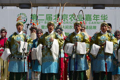Chinese students performing Beijing opera on an outdoor stage Stock Image