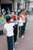 Chinese students play cucurbit flute Stock Image