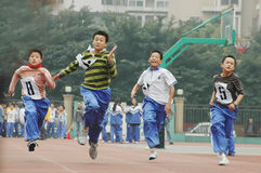 Chinese students are relay race Stock Image