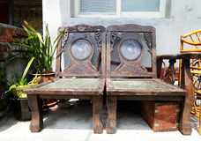 Chinese style ancient wooden chairs Stock Photo