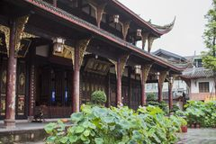 Chinese Style Architecture in Chengdu with Wooden Structures. royalty free stock photo