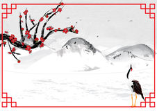 Chinese style background with mountains Stock Photography