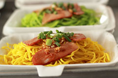 Chinese Style BBQ Pork with Egg Noodle Royalty Free Stock Image