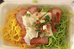 Chinese Style BBQ Pork with Egg Noodle Stock Photography