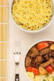 Chinese Style Beef In Black Bean Sauce With Fried Rice Stock Photography