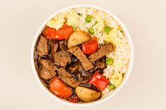 Chinese Style Beef In Black Bean Sauce With Fried Rice Royalty Free Stock Photography