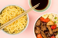 Chinese Style Beef In Black Bean Sauce With Fried Rice Royalty Free Stock Images