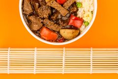 Chinese Style Beef In Black Bean Sauce With Fried Rice Stock Photo