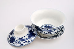 Chinese style blue Painting tea cup. A set of Chinese blue painting tea cup, refer to chinese traditional culture and tea culture Stock Images