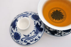 Chinese style blue Painting tea cup and tea. A set of Chinese blue painting tea cup and tea, refer to chinese traditional culture and tea culture Stock Photography