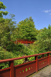 Chinese style bridges. View showing the  Chinese style bridges over the Chinese hill garden, Edinburgh Botanic gardens Stock Photos