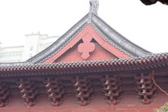 Chinese style building roof -A corner of the park. Shengjin tower brick Pavilion style tower Jiangnan typical, 50.86 meters high tower, the tower for the seven Royalty Free Stock Photos