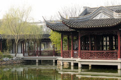 Chinese style buildings over water Royalty Free Stock Photos