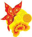 Chinese Style Butterfly and Flower Stock Photo
