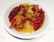 Chinese style Lobster noodles royalty free stock photo