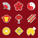 Chinese style collection of icons. Lunar New Year 2016. Modern flat style vector art. Translation of Chinese character: prosperity Royalty Free Stock Photography