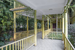 Chinese style covered corridor with  bamboo Royalty Free Stock Photo