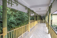 Chinese style covered corridor with  bamboo Stock Images