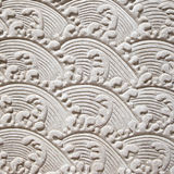 Chinese Style, Decorative Wall with Stucco Molding. Close up of White Decorative Plaster Molding on Wall in Chinese Style Stock Images