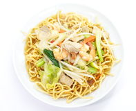 Chinese style deep fried yellow noodles Royalty Free Stock Image